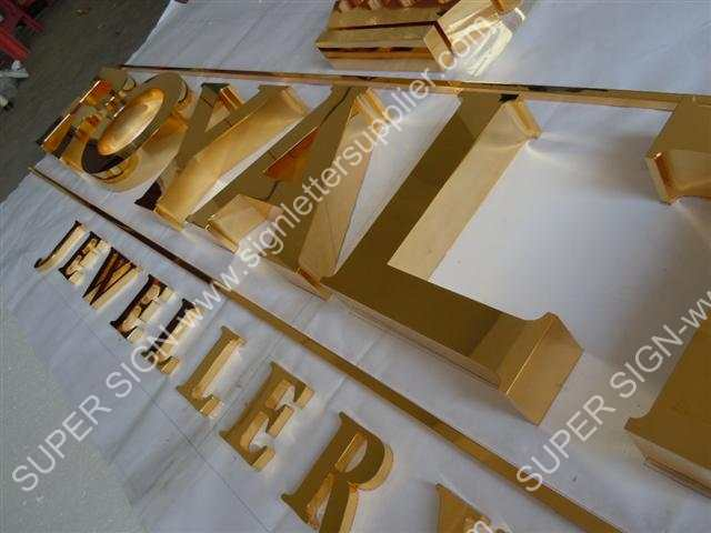 golden polished stainless steel sign letter
