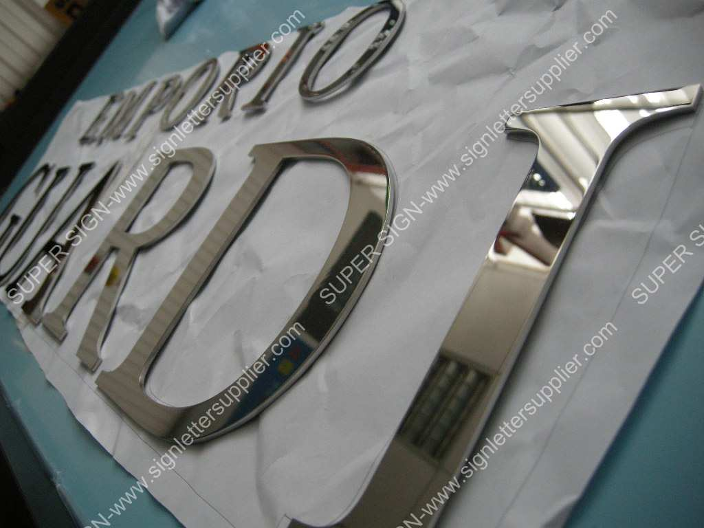 flat cut solid polished stainless steel letters